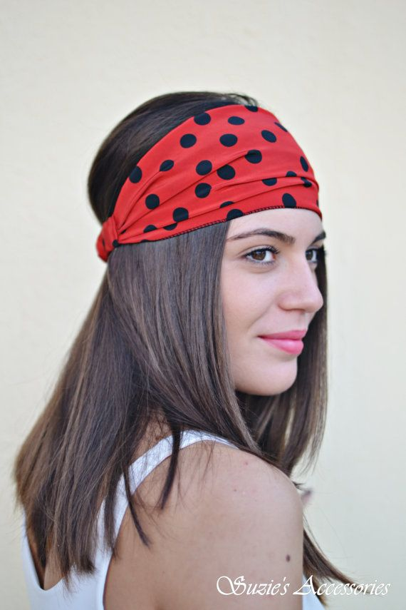Polka Dot Headband Red Headband Handmade by SuzannasAccessories