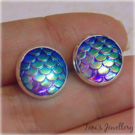 Purple Mermaid Scale Earrings  Silver plated Two toned