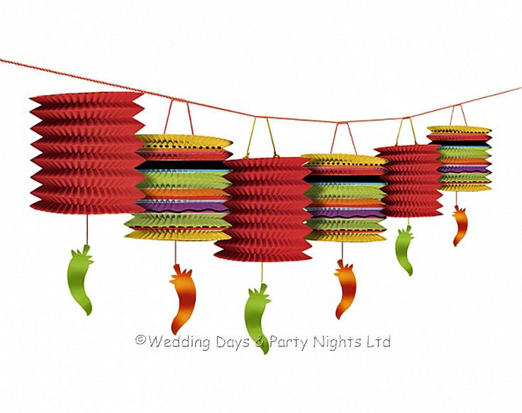 12ft Garland Mexican Chilli Paper Lanterns Fiesta Wild West Party Decorations