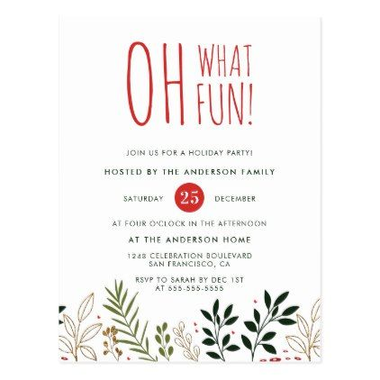 Oh What Fun! Botanical Holiday Party Invitation in 2018 holiday