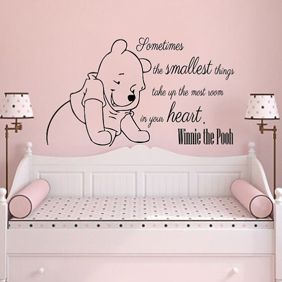 Wall Decals Quotes Vinyl Sticker Decal Quote Winnie the Pooh Sometimes the smallest Nursery Baby Room Boys Girls Home Decor Bedroom NS816