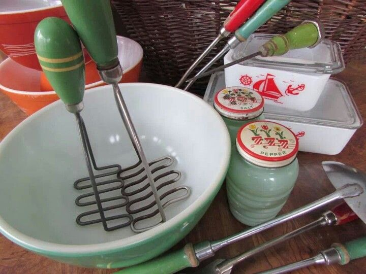Vintage green-handled potato mashers and other treasures.