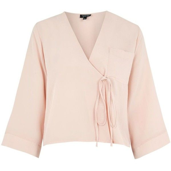 Topshop Tie Wrap Blouse (93 ILS) ❤ liked on Polyvore featuring tops, blouses, nude, nude blouses, self tie belt, pink blouse, pink top and tie belt