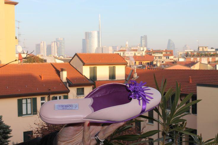 #Milano skyline December 15 and #Lurabo Spiga slipper in baby peau nappa