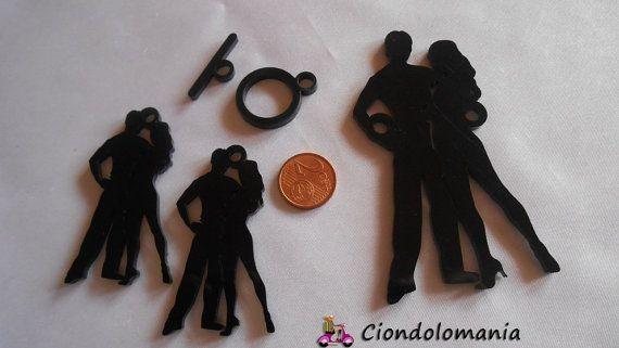 Lotto pendants SALSA DANCERS in black plexiglass by Ciondolomania