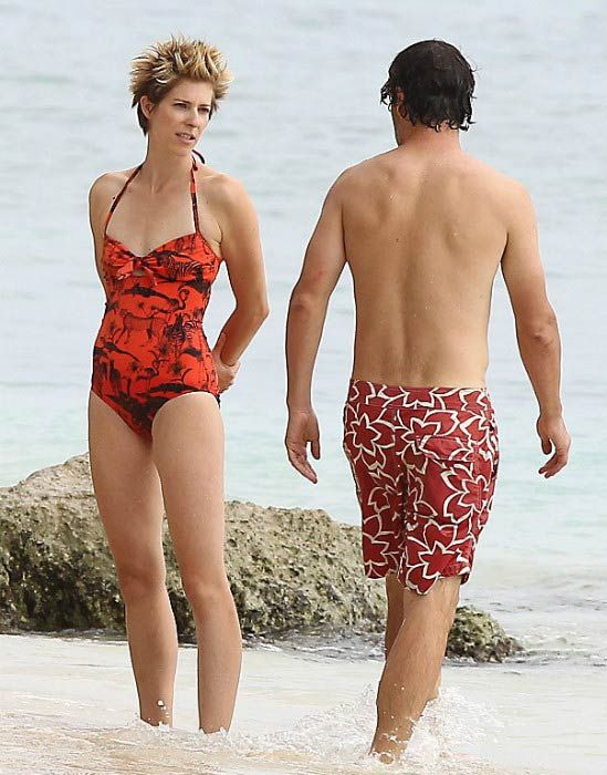 Andrew Lincoln and his wife Gael Anderson on the Caribbean beach in August 2013...