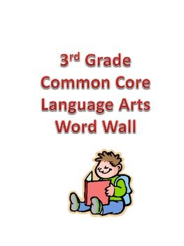 This packet has word cards for important vocabulary words in the Language Arts Common Core State Standards for 3rd Grade.The cards are illustrated to help students understand the meaning of each word. They are also color-coded by domain.I also have math word wall cards for third grade available here. $