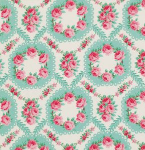 Rose Wreath Rosewater Verna Mosquera  Cotton Fabric pwvm111seamist  Pink Roses and Aqua Wreaths