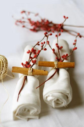 Cinnamon sticks used in napkin ring