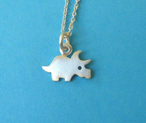 Tiny Dinosaur Necklace Dinosaur Charm Triceratops Pendant Sterling Silver Dino Pendant Dinosaur Charm Kids necklace boys necklace (21.00 USD) by zoozjewelry