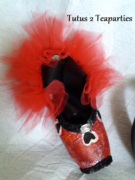 Alice's Queen of Hearts Themed Pointe Shoe by Tutus2Teaparties, $52.97