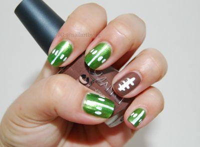 Mani Monday: Football Nails www.salonfanatic.com