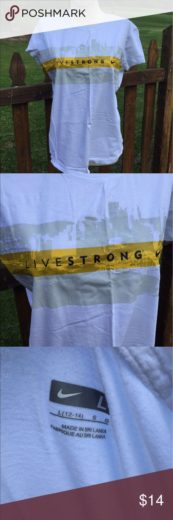 Nike Livestrong T Shirt Size Large Size large. Super gently preowned. Be sure to view the other items in our closet. We offer  women's, Mens and kids items in a variety of sizes. Bundle and save!! Thank you for viewing our item!! Nike Tops Tees - Short Sleeve