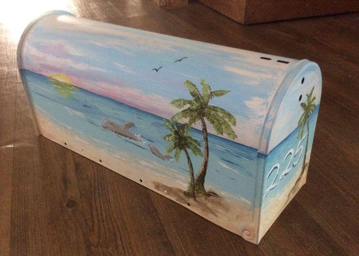 hand painted beach metal mailbox, mom & baby dolphins tropical coastal seascape sunset birds sun sky surf waves,  beach lover, house warming by PaintedbyYvette on Etsy