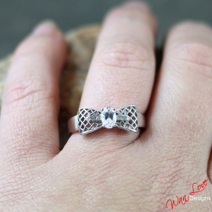 White Topaz Diamond Oval Filigree Milgrained Bow Engagement Ring 14k 18k White Yellow Rose Gold-Platinum-Custom-Wedding-Anniversary-Layaway by WanLoveDesigns on Etsy https://www.etsy.com/listing/212206135/white-topaz-diamond-oval-filigree