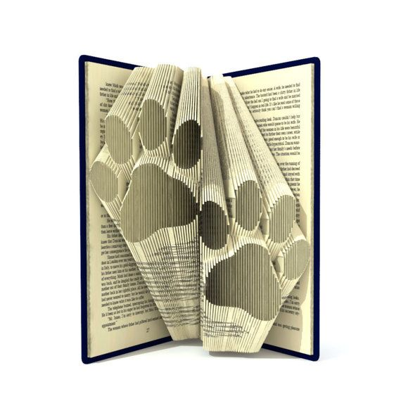 Book folding pattern - DOUBLE PAWS - 189 folds + Tutorial with Simple pattern - Heart - FO0301