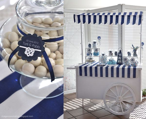 http://malgenioworkshop.blogspot.com.es/2012/07/una-boda-en-la-playa-beach-wedding.html wedding | beach | blue | stripes | marine | candy bar