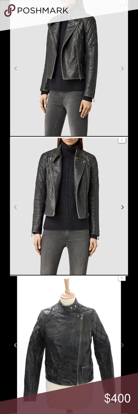 SOLD ALL SAINTS ASTOR LEATHER BIKER JACKET VINTAGE Item Description Condition: New with Tags:  A perennially stylish wardrobe staple, this luxe jacket from AllSaints is the perfect all-year-round cover-up. Inspired by traditional biker shapes, this jacket is crafted from sheep leather and features a snap band collar, diamond quilted detailing at the shoulders and an authentic textured finish. Layer over a silk tunic, skinny jeans and heeled boots for a stunning look. All Saints Jackets…