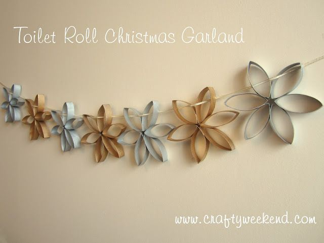 christmas garland decoration gold silver toilet roll craft idea. My husband works for a paper company. There is no reason not to try this.