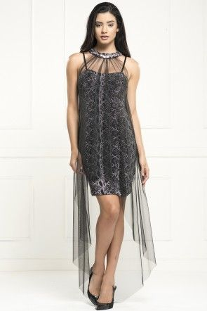 OVER MINI irony strapless long black chiffon dress