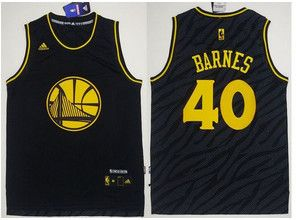 Golden State Warriors #40 Harrison Barnes Black Precious Metals Fashion Stitched NBA Jersey