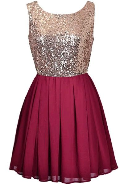 Iced Cranberry Dress: Features a sparkling gold sequin bodice, graceful V-design to the rear crowning an exposed zipper, and a pleated cranberry red chiffon skirt to finish.