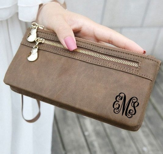 Monogram Wallet, Womens Wallet, Personalized Monogrammed Clutch, Leather Purse, Bag, Mothers Day, Women Wallets, Christmas Gift