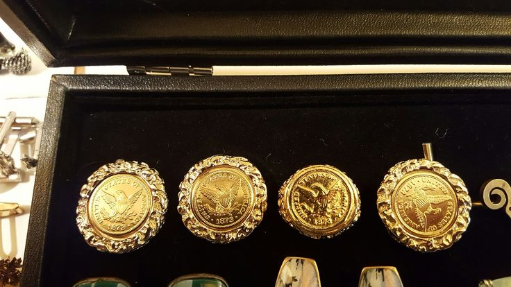 Vintage cufflinks: unmarked 12k gold coins with braided edge and tie tack and matching ring