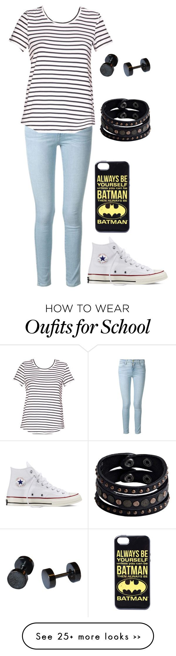 """day in school"" by zajana on Polyvore featuring Frame Denim, Converse and Replay"