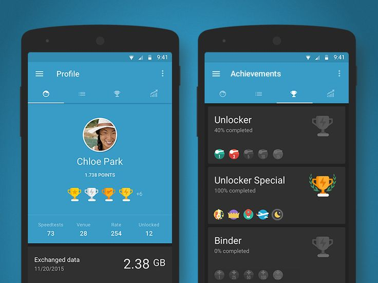 Hi guys! Really excited to show you my latest work on gamification I'm currently working on. Here are the user's profile and achievements screenshots for the wiMAN app.  Any feedback?