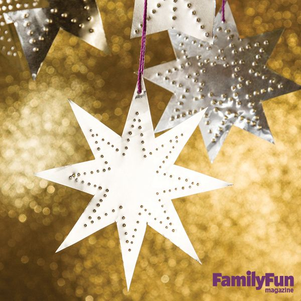 Shining Star Ornaments: These stars are so simple, kids can create a galaxy of original designs.