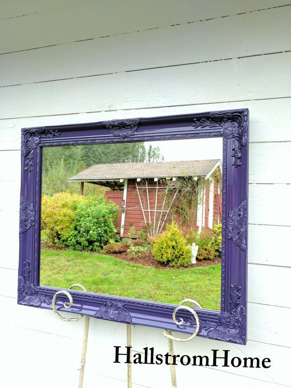 Vanity Wall Mirror Purple Bathroom Mirror Shabby Chic Wood Framed Mirror Large Vintage Style Mirror Custom Colors Available