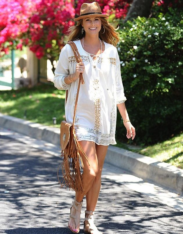 Stacy Keibler is glowing as she steps out in Los Angeles with her growing baby bump