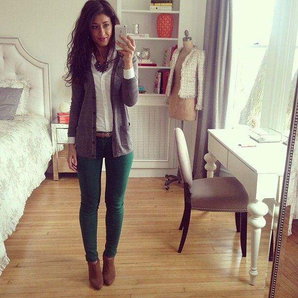 gray cardigan, white button up and green pants. ...