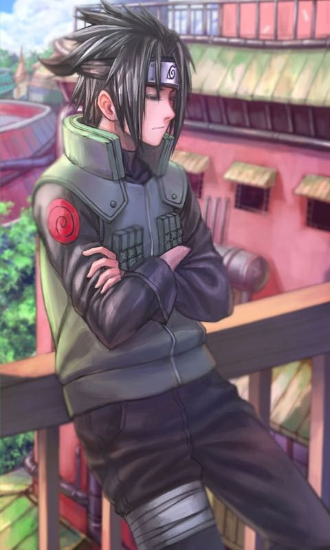 Sasuke. Leaning and looking bad-ass just like that. Am I the only one that had an anime childhood crush..anyone?