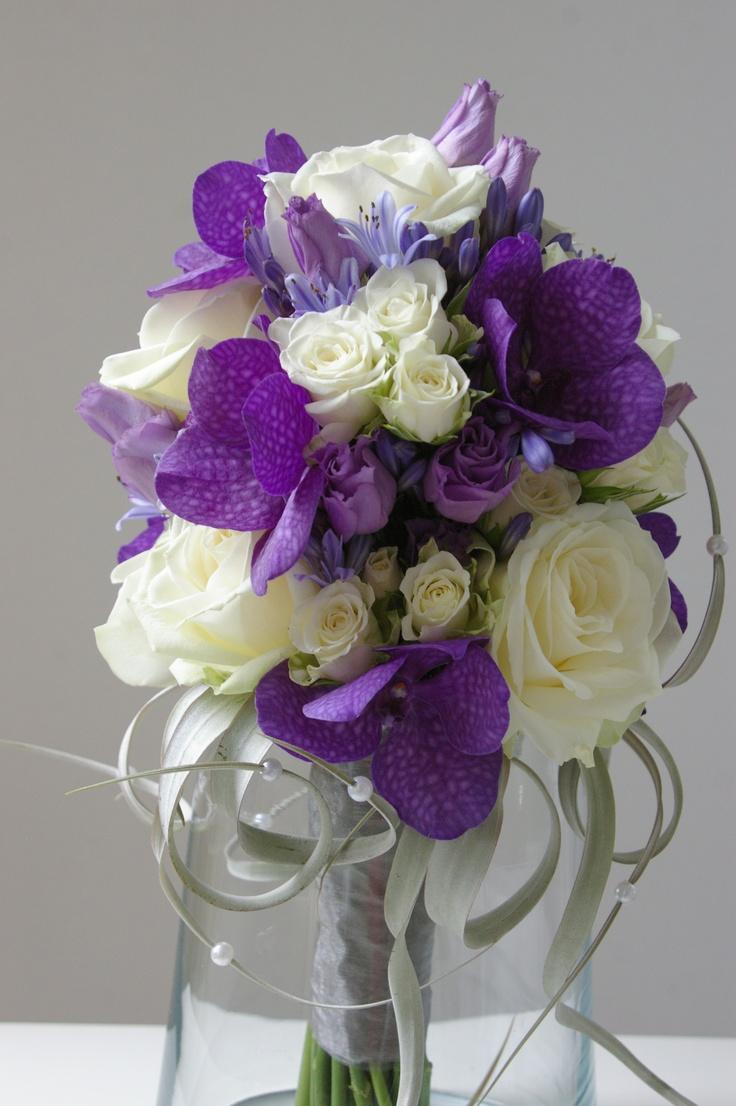 bruidsboeket wit paars