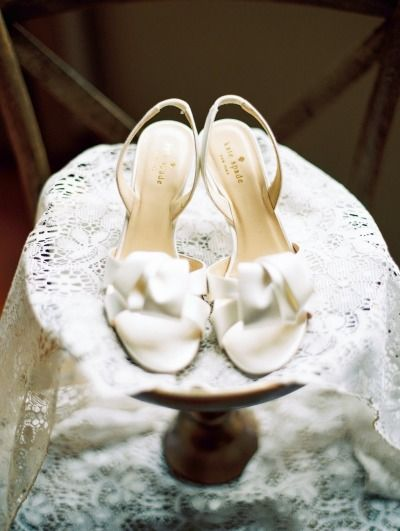 White wedding shoes: http://www.stylemepretty.com/north-carolina-weddings/asheville/2015/05/13/stylish-asheville-wedding-with-custom-peach-wedding-gown/ | Photography: Perry Vaile - http://www.perryvaile.com/