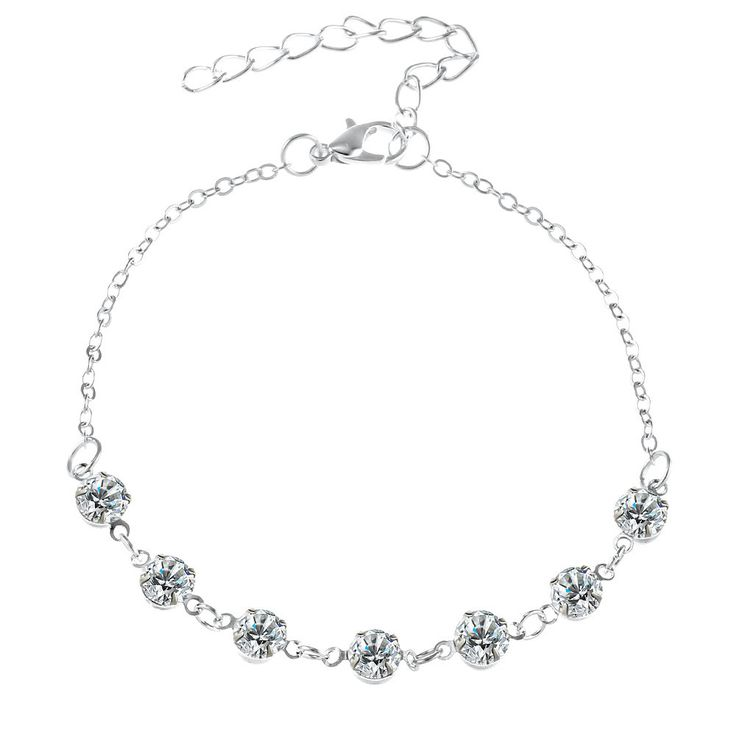 Pearl Crystal Stainless Steel Chain Anklet Bracelet