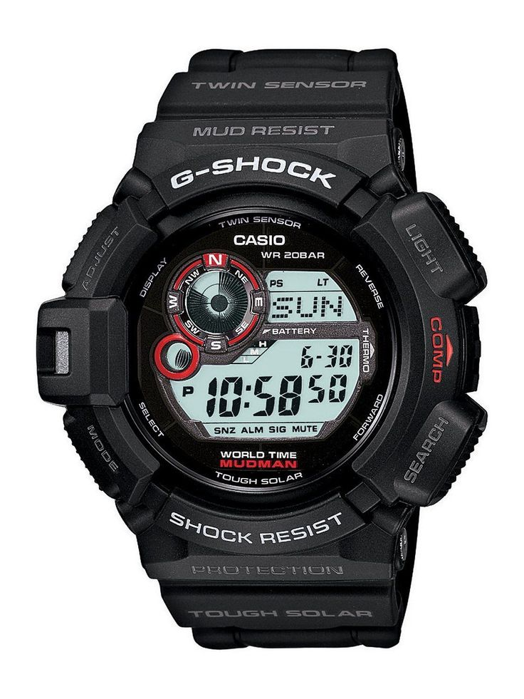 Casio G-Shock G-9300-1 Wrist Watch Wristwatch Mudman Tough Solar Black  G9300-1