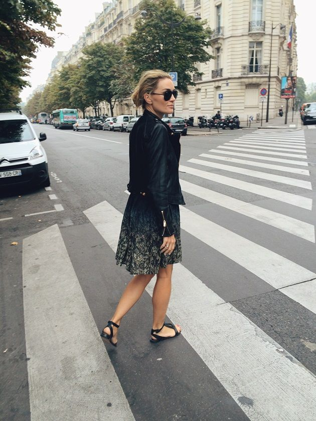 Style...Camilla Pihl // leather jacket and dress look