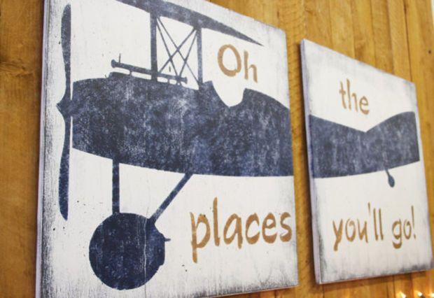 Oh The Place You'll Go Vintage Airplane Nursery Wall Decor Boys Nursery Decor Navy Nursery Distressed Wood Vintage Nursery Above Crib Decor
