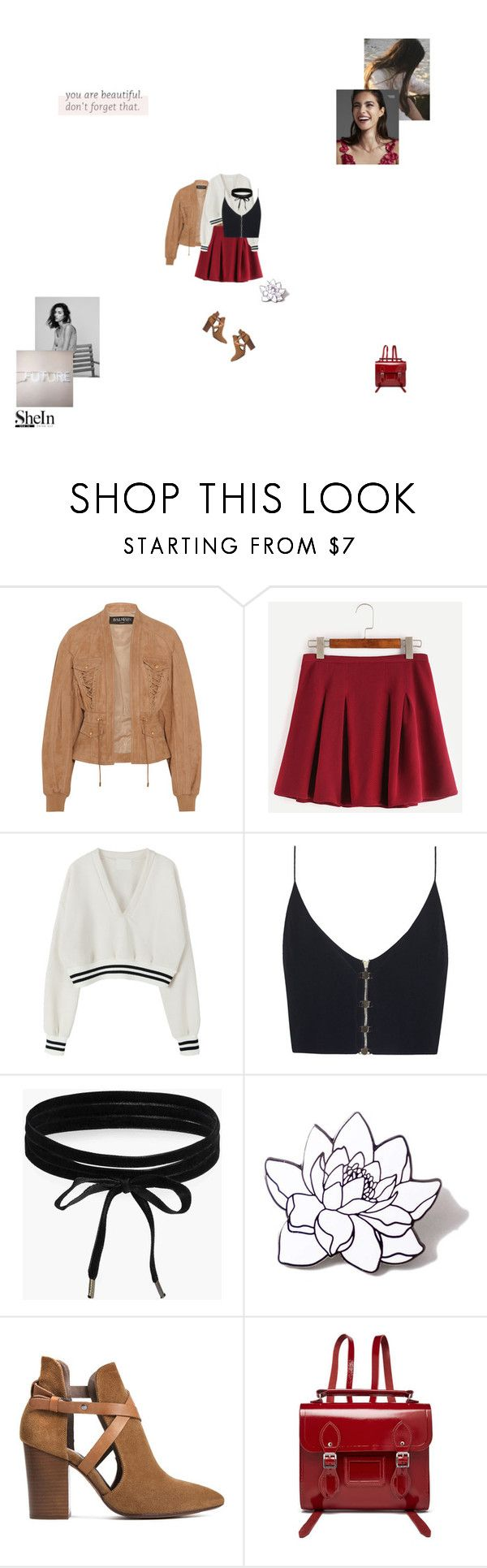 """""""you are beautiful"""" by young-grasshopper ❤ liked on Polyvore featuring Balmain, Rocio, Zimmermann, Boohoo, PINTRILL, H London, The Cambridge Satchel Company, Sweater, Sheinside and choker"""