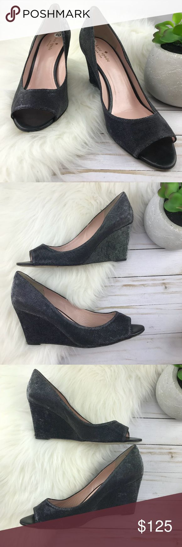 Kate Spade Silver Black Peep Toe Wedges Stunning!  Normal-minimal wear.  Slight wear to the wedge as shown in photos. kate spade Shoes Wedges