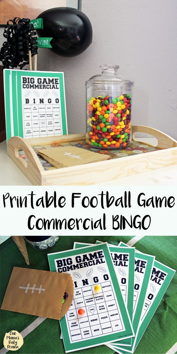 Free printable football game BINGO for the commercials || printable game | family activity | tv entertainment #FootballParty #FreePrintables #GameDay