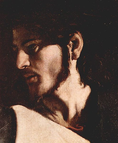 62 The Calling of Saint Matthew by Caravaggio (detail of Jesus)