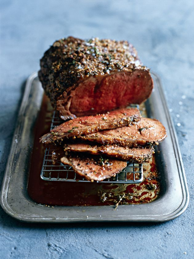 mustard roast beef - can do this with a sirloin joint - perfect!