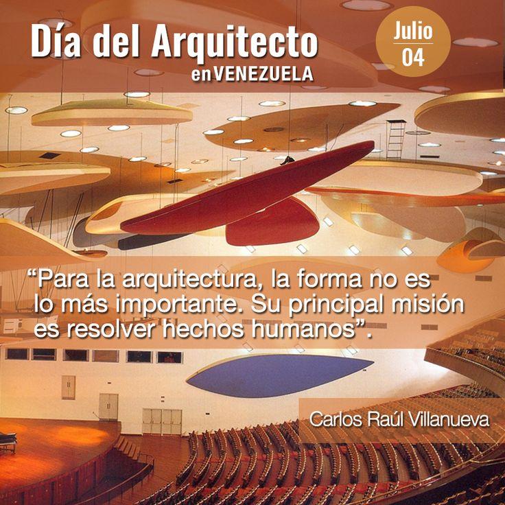 Día del Arquitecto en Venezuela. Homenaje a Carlos Raúl Villanueva, considerado el más importante arquitecto venezolano del siglo XX, pionero y máximo exponente e impulsor de la arquitectura moderna en Venezuela. #arquitectura #CarlosRaulVillanueva #Venezuela