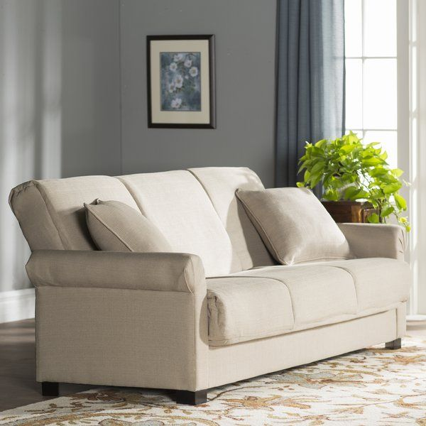 Sporting a simple yet elegant design, this charming sofa is a welcome addition to any home. Whether you want a simple foundation to build an eclectic aesthetic off of, or you just want to craft a casual and classic ensemble, this lovely piece is the perfect choice. The simple silhouette and solid-toned upholstery give this sofa its understated appeal, while the rolled arms and subtly arched back add a touch of traditional appeal. It also has a convertible design so it can transform into a…