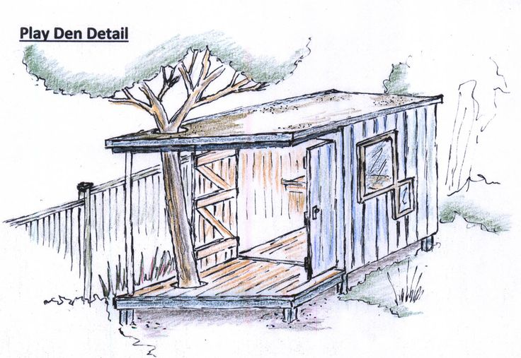 Play den sketch design for a garden in North of Ireland. The balcony is built around an existing tree to give a sense of connection with the garden