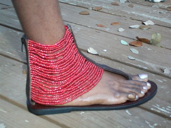 African Masai Beaded Sandals by CraftsByGertrude on Etsy, $70.00